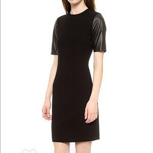 Vince leather sleeve mini dress